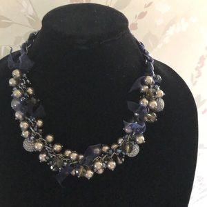 Talbots Beaded Necklace with Ribbon Accents